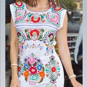 Stunning Mexican Handmade Dress Embroidered